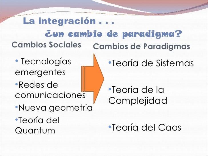 La integración . . .    ¿un cambio de paradigma?  <ul><li>Cambios Sociales </li></ul><ul><ul><ul><li>Tecnologías    emer...