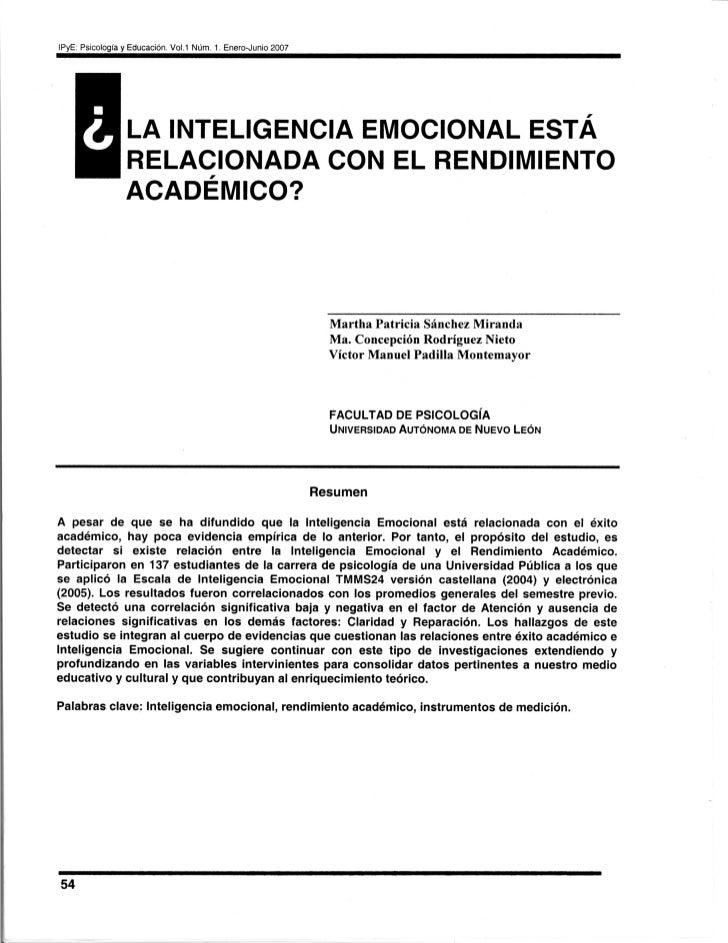 IPyE: Psicología y Educación. Vol.1 Núm. 1. Enero-Junio 2007                 LA INTELIGENCIA EMOCIONAL ESTÁ               ...