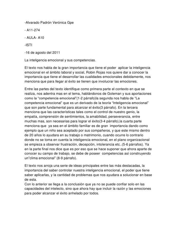 -Alvarado Padrón Verónica Gpe<br />- A11-274<br />- AULA- A10<br />-ISTI<br />-16 de agosto del 2011<br />La inteligencia ...