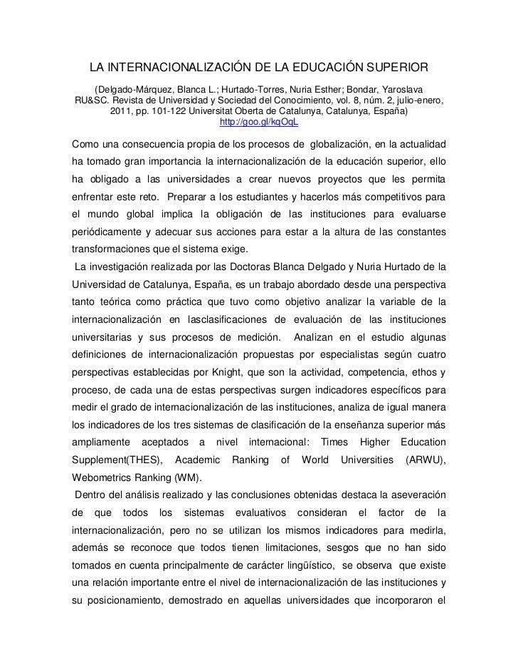 LA INTERNACIONALIZACIÓN DE LA EDUCACIÓN SUPERIOR   (Delgado-Márquez, Blanca L.; Hurtado-Torres, Nuria Esther; Bondar, Yaro...