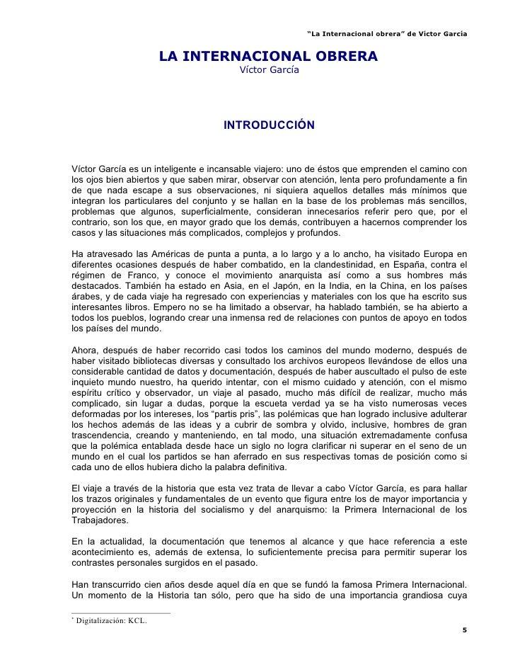 """""""La Internacional obrera"""" de Víctor García                              LA INTERNACIONAL OBRERA                          *..."""