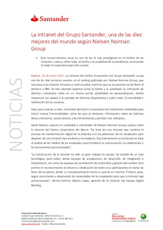 NOTICIAS Corporate Communications Ciudad Grupo Santander, edificio Arrecife, pl. 2 28660 Boadilla del Monte (Madrid). Tel....