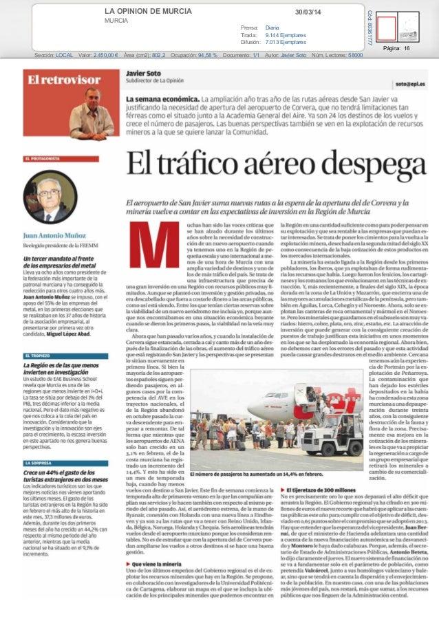 30/03/14LA OPINION DE MURCIA MURCIA Prensa: Diaria Tirada: 9.144 Ejemplares Difusión: 7.013 Ejemplares Página: 16 Sección:...