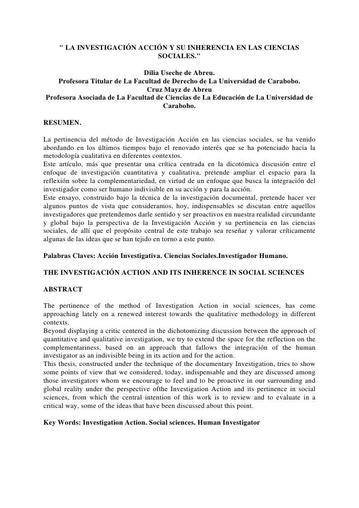 """"""" LA INVESTIGACIÓN ACCIÓN Y SU INHERENCIA EN LAS CIENCIAS                             SOCIALES.""""                          ..."""