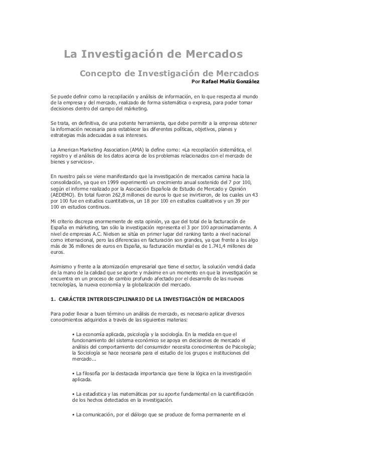 La Investigación de Mercados            Concepto de Investigación de Mercados                                             ...