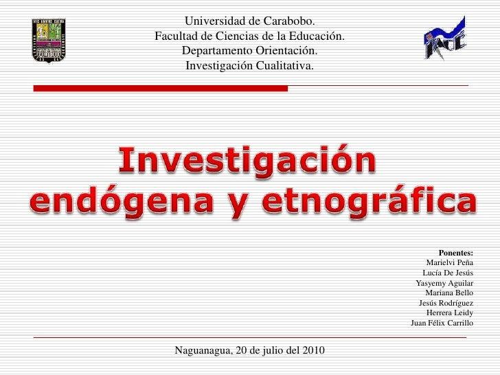 Universidad de Carabobo.<br />Facultad de Ciencias de la Educación.<br />Departamento Orientación.<br />Investigación Cual...
