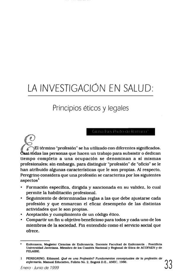 La investigación en salud   principios éticos y legales