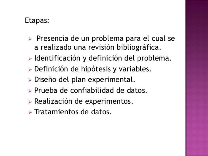 Etapas:  Presencia de un problema para el cual se  a realizado una revisión bibliográfica. Identificación y definición d...