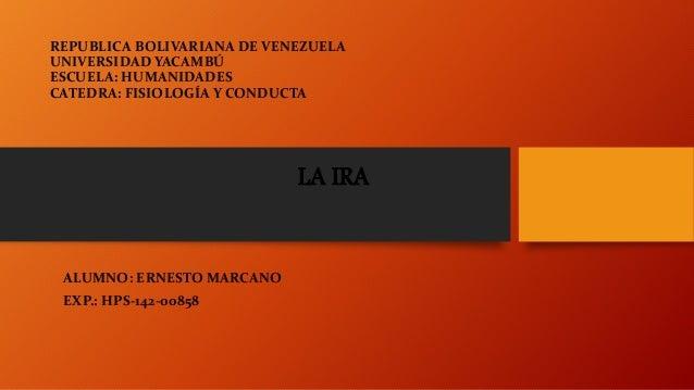 REPUBLICA BOLIVARIANA DE VENEZUELA UNIVERSIDAD YACAMBÚ ESCUELA: HUMANIDADES CATEDRA: FISIOLOGÍA Y CONDUCTA ALUMNO: ERNESTO...