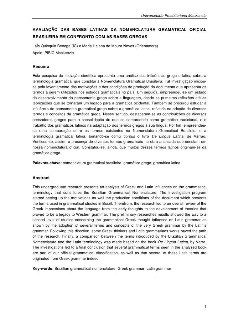 Universidade Presbiteriana MackenzieAVALIAÇÃO DAS BASES LATINAS DA NOMENCLATURA GRAMATICAL OFICIALBRASILEIRA EM CONFRONTO ...