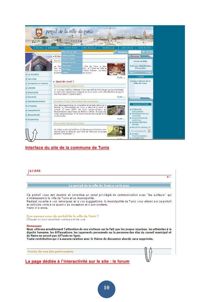 Interface du site de la commune de Tunis     La page dédiée à l'interactivité sur le site : le forum                      ...