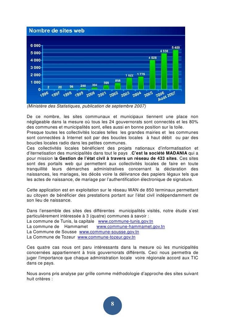(Ministère des Statistiques, publication de septembre 2007)  De ce nombre, les sites communaux et municipaux tiennent une ...