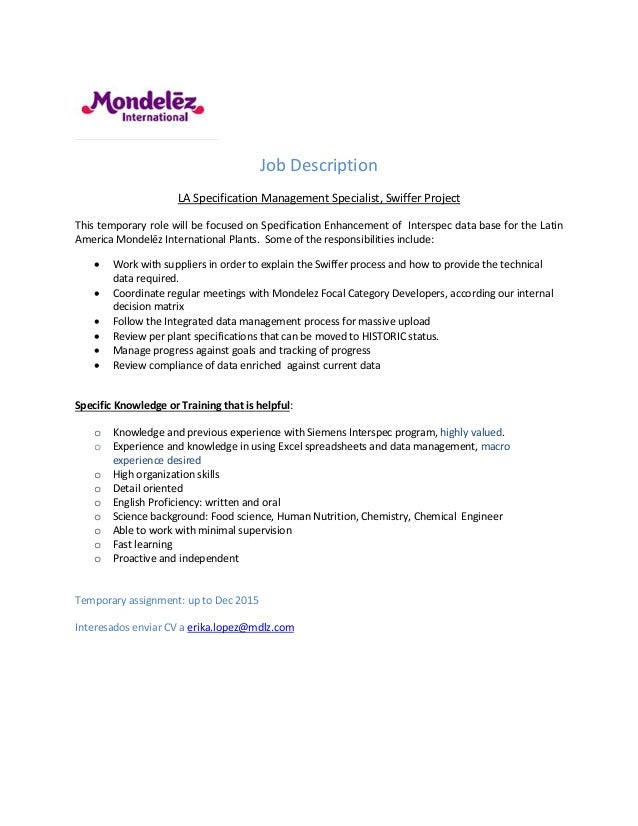 la job description temp hc project swiffer