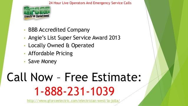 24Hr La jolla Electrician - Gforce Green Electric Solutions Slide 2