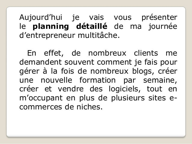 Le planning journalier type d'un entrepreneur très occupé Slide 2
