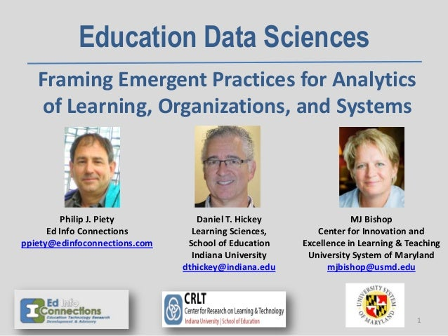 Education Data Sciences Framing Emergent Practices for Analytics of Learning, Organizations, and Systems Philip J. Piety E...