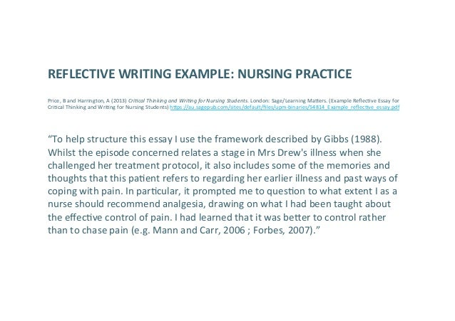 Sample of reflective essay in nursing