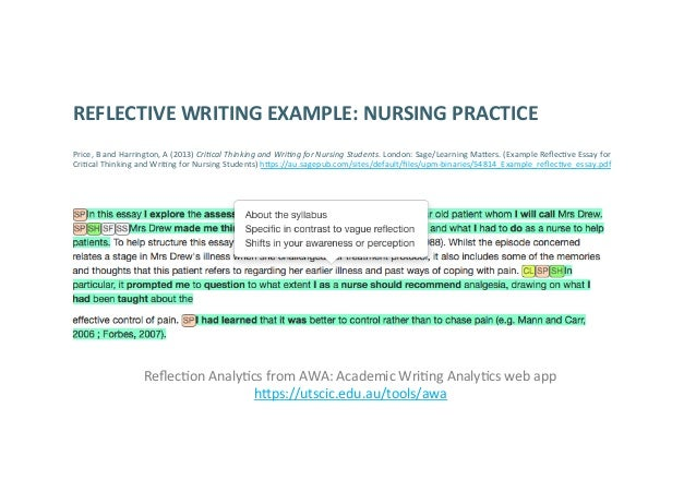 reflective essay example nursing