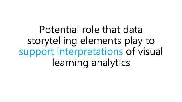 Potential role that data storytelling elements play to support interpretations of visual learning analytics