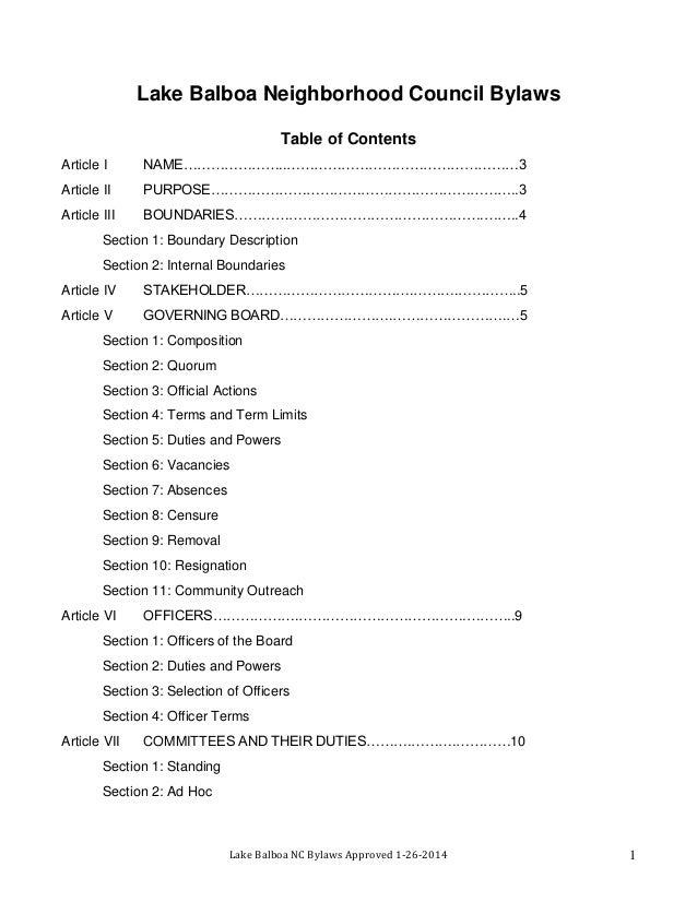 Lake Balboa Neighborhood Council Bylaws Table of Contents Article I  NAME…………………..……………………………………………3  Article II  PURPOSE…...