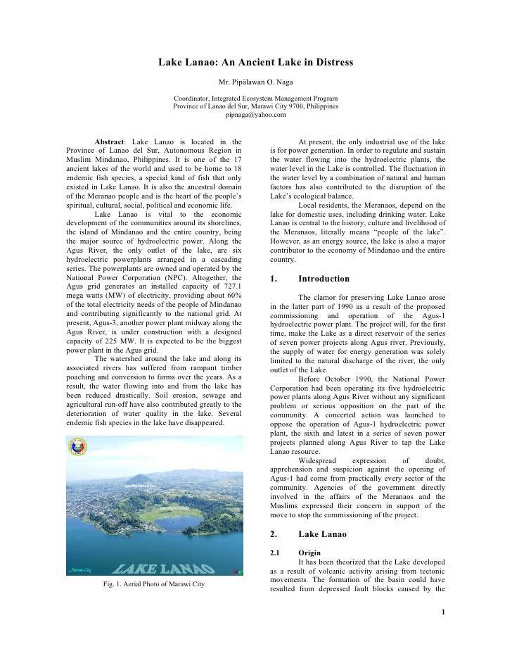 Lake Lanao: An Ancient Lake in Distress                                                    Mr. Pipälawan O. Naga          ...