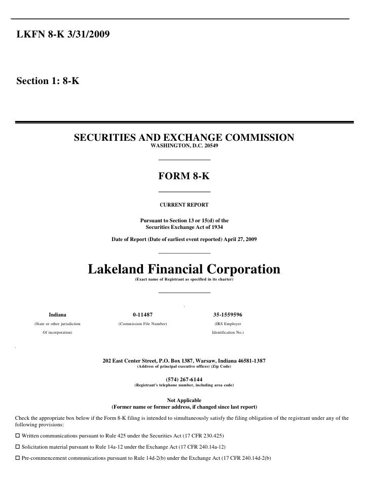 LKFN 8-K 3/31/2009    Section 1: 8-K                                      SECURITIES AND EXCHANGE COMMISSION              ...