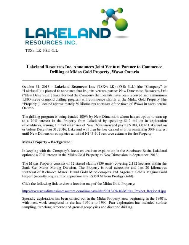 TSXv: LK FSE: 6LL  Lakeland Resources Inc. Announces Joint Venture Partner to Commence Drilling at Midas Gold Property, Wa...