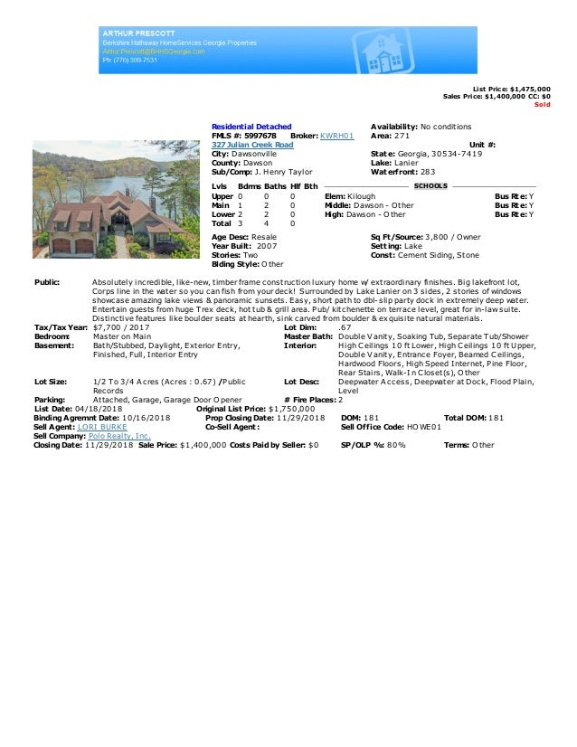 List Price: $1,475,000 Sales Price: $1,400,000 CC: $0 Sold Residential Detached Availability: No conditions FMLS #: 599767...