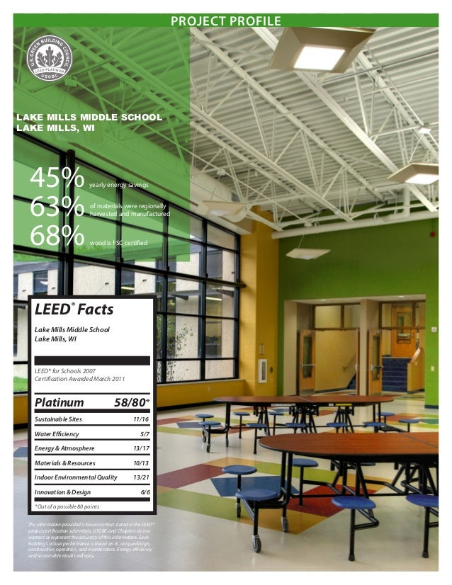 Energy Projects For Middle School : Lake mills middle school leed project profile miron