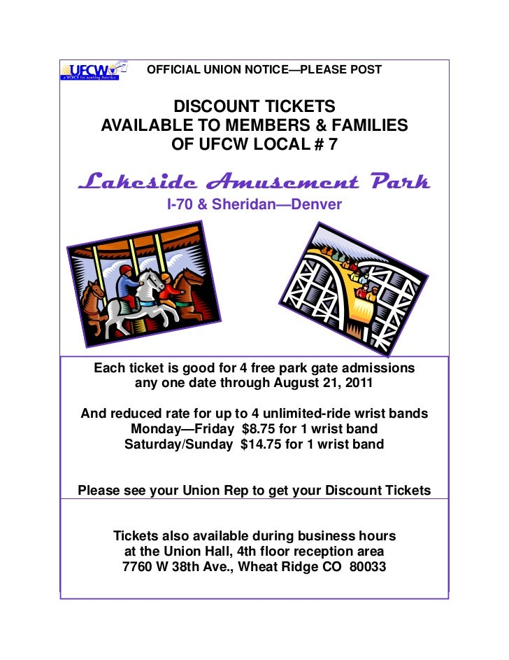 OFFICIAL UNION NOTICE—PLEASE POST          DISCOUNT TICKETS   AVAILABLE TO MEMBERS & FAMILIES          OF UFCW LOCAL # 7La...