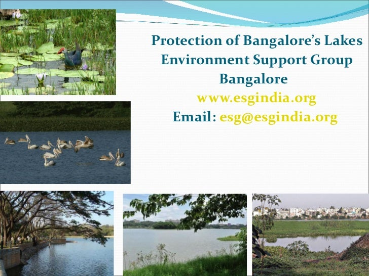 <ul><li>Protection of Bangalore's Lakes </li></ul><ul><li>Environment Support Group </li></ul><ul><li>Bangalore  </li></ul...