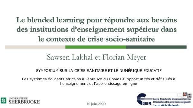 Le blended learning pour répondre aux besoins des institutions d'enseignement supérieur dans le contexte de crise socio-sa...