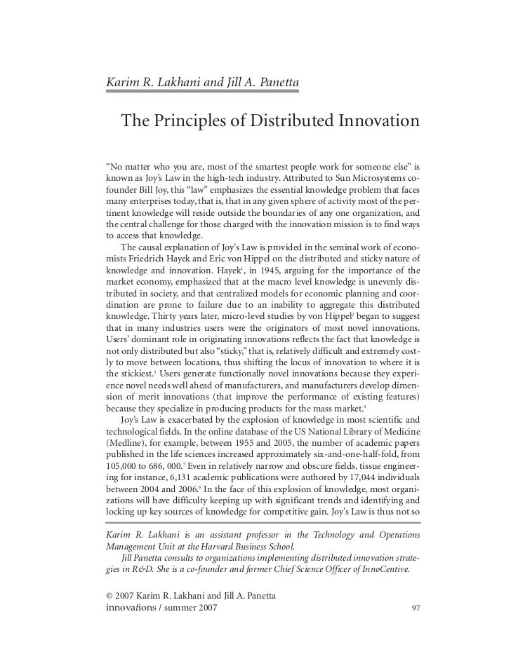 "Karim R. Lakhani and Jill A. Panetta    The Principles of Distributed Innovation""No matter who you are, most of the smarte..."