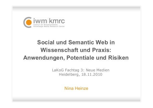 Social und Semantic Web in Wissenschaft und Praxis: Anwendungen, Potentiale und Risiken Nina Heinze LaKoG Fachtag 3: Neue ...