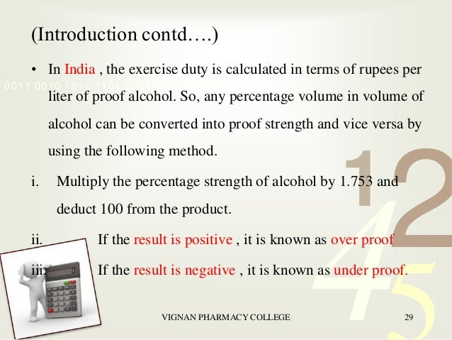 proof value of alcohol