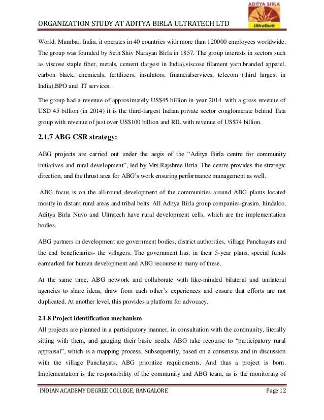 """organisational study of birla corporation ltd I have completed this organizational study at """"ultratech cement ltd"""" in  this report history of the company growth prospect of the."""