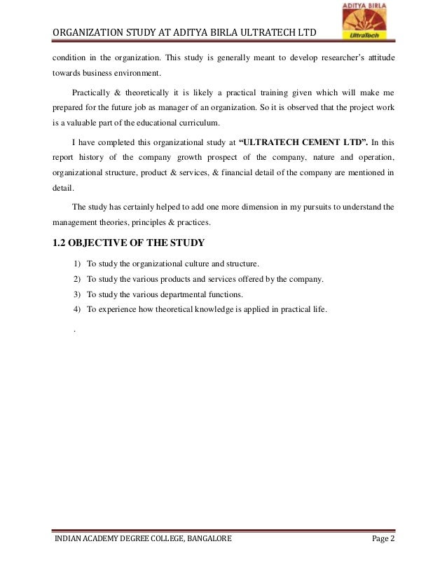 Ultratech Cement History : An organisation study at aditya birla ultratech ltd