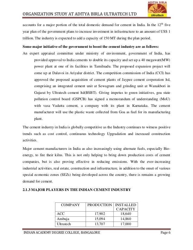 An Organisation study at ADITYA BIRLA ULTRATECH LTD