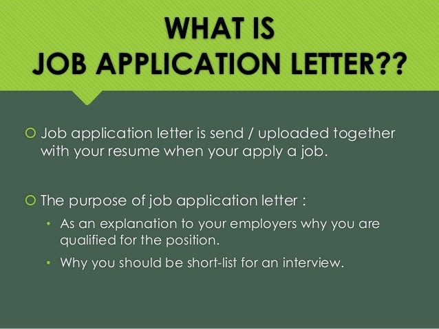 what is the purpose of a covering letter - job application letter
