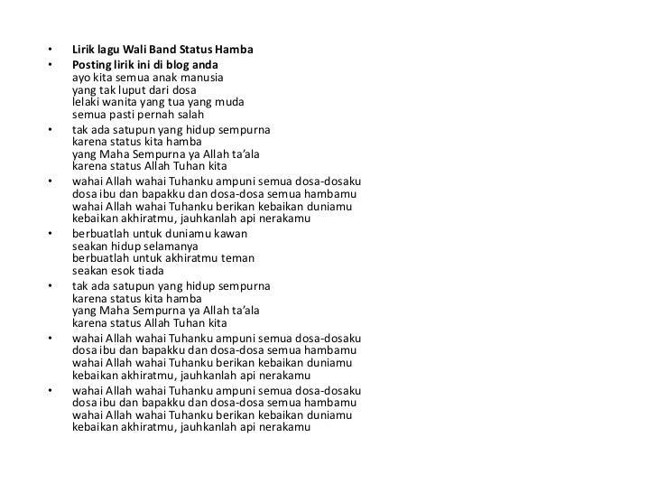 Lirik Lagu Wali Status Hamba