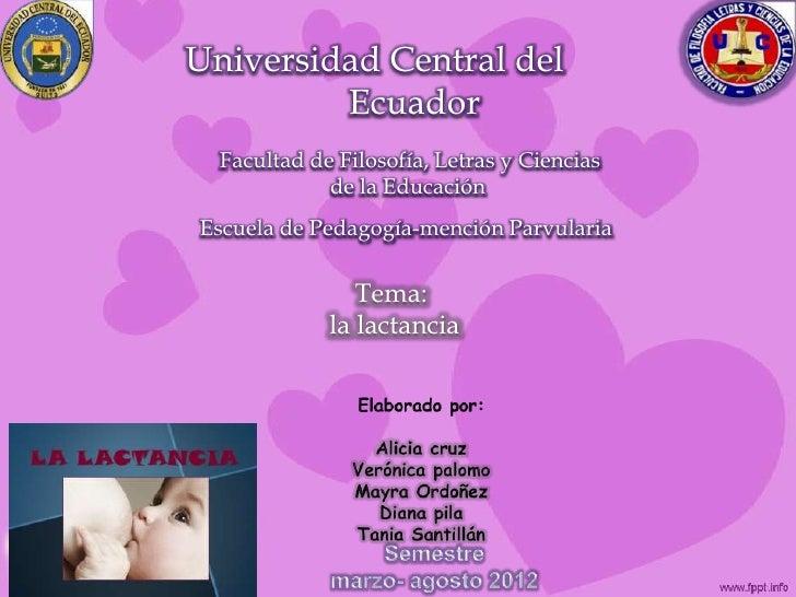 Universidad Central del         Ecuador  Facultad de Filosofía, Letras y Ciencias             de la EducaciónEscuela de Pe...