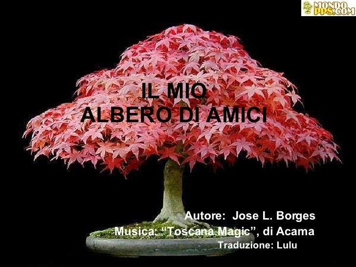 """IL MIO ALBERO DI AMICI   Autore:  Jose L. Borges   Musica: """"Toscana Magic"""", di Acama   Traduzione: Lulu"""