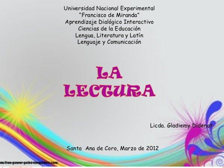 """Universidad Nacional Experimental      """"Francisco de Miranda""""Aprendizaje Dialógico Interactivo     Ciencias de la Educació..."""