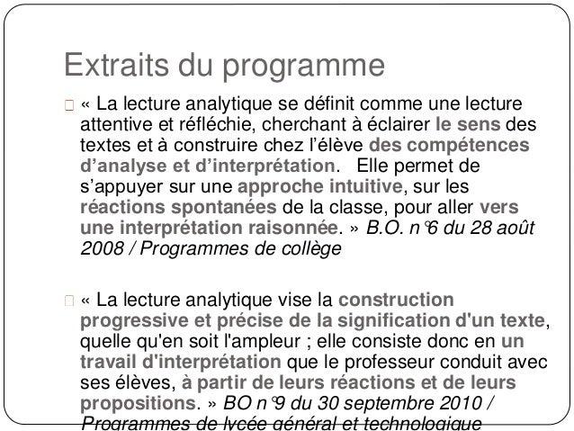 La Lecture Analytique