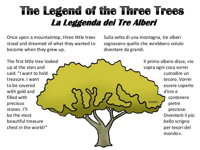 La Leggenda dei Tre Alberi Once upon a mountaintop, three little trees stood and dreamed of what they wanted to become whe...
