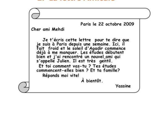 La lettre amicale (carta informal)