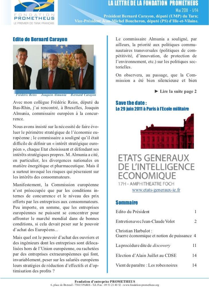 LA LETTRE DE LA FONDATION PROMETHEUS                                                                                      ...