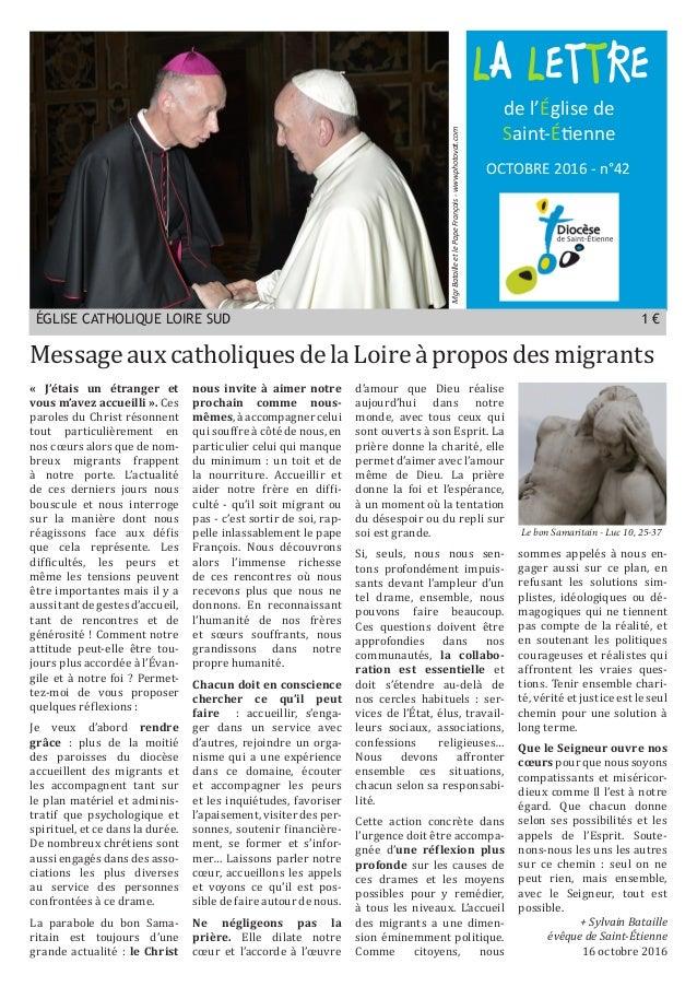 LA LETTRE OCTOBRE 2016 - n°42 de l'Église de Saint-Étienne MgrBatailleetlePapeFrançois-www.photovat.com Message aux cathol...