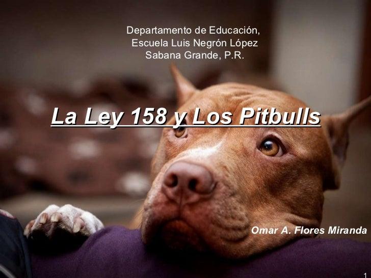 La Ley 158 y Los Pitbulls Omar A. Flores Miranda Departamento de Educación,  Escuela Luis Negrón López Sabana Grande, P.R.