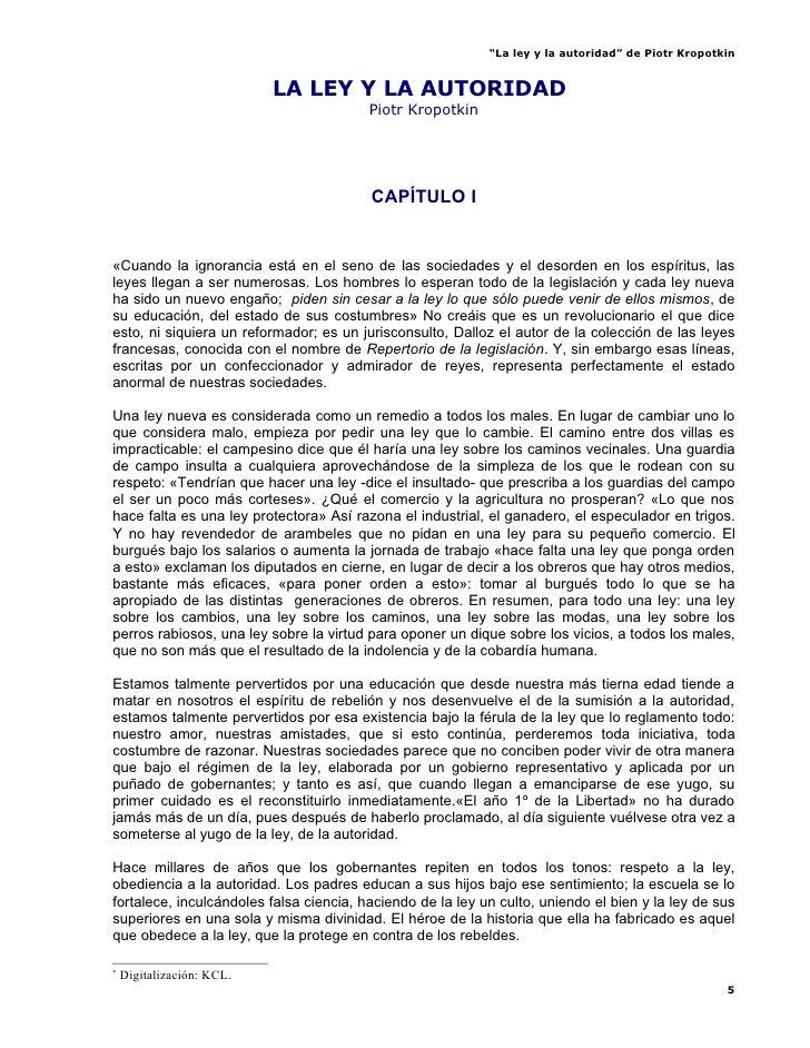 """""""La ley y la autoridad"""" de Piotr Kropotkin                              LA LEY Y LA AUTORIDAD*                            ..."""